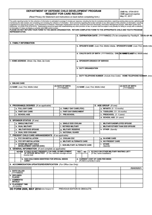 Fillable Dd Form 2606 - Department Of Defense Child Development Program Request For Care Record Printable pdf
