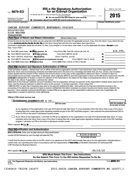 Form 8879-Eo - Irs E-File Signature Authorization For An Exempt Organization Sample - 2015 Printable pdf