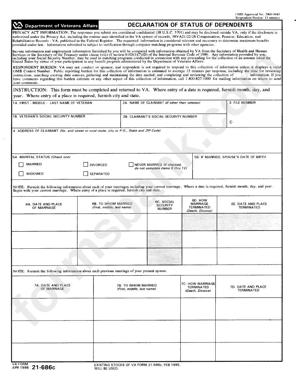 Form 21-686c - Declaration Of Status Of Dependents - Department Of Veterans Affairs