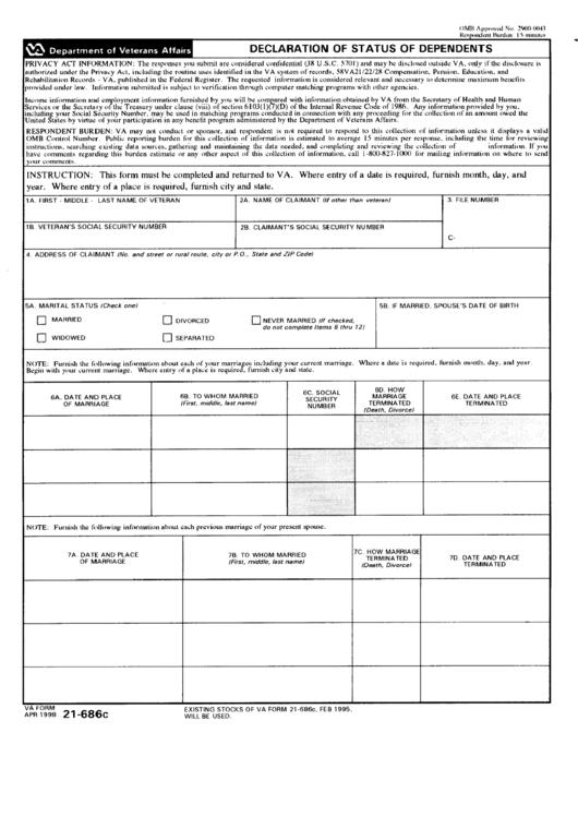 Form 21-686c - Declaration Of Status Of Dependents - Department Of Veterans Affairs Printable pdf