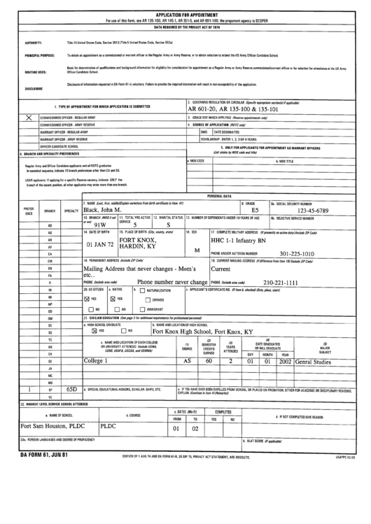 Da Form 61 - Application For Appointment Printable pdf