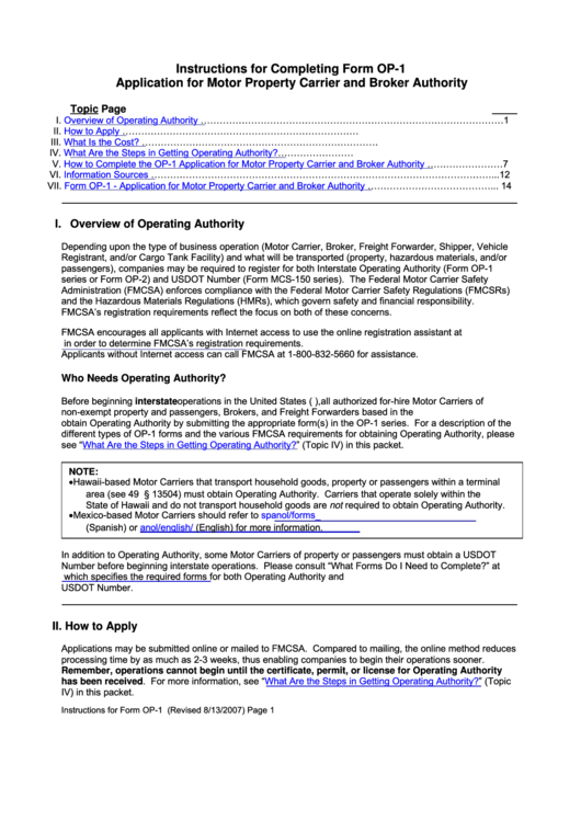 Form Op-1 - Application For Motor Property Carrier And Broker Authority - U.s. Department Of Transportation