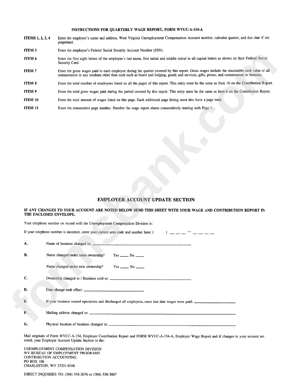 Instructions For Quarterly Wage Report For Form Wvuc A 154 A