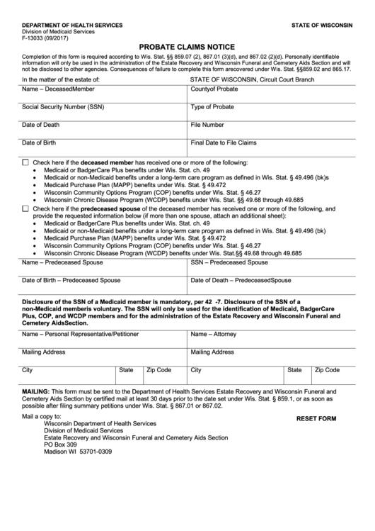 Form F-13033 - Probate Claims Notice