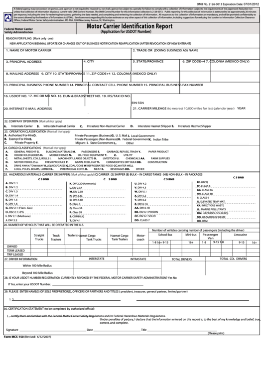 Fillable form mcs 150 motor carrier identification for Motor vehicle history report free