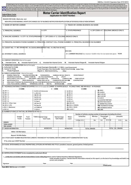 Fillable form mcs 150 motor carrier identification for Motor carrier identification report mcs 150