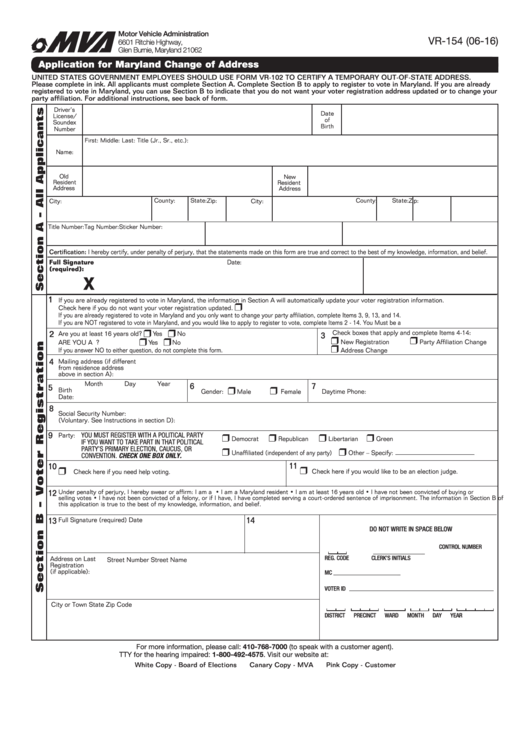 Form Vr-154 - Application For Maryland Change Of Address