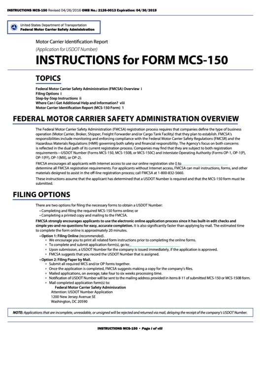 Fillable form mcs 150 motor carrier identification for How to obtain a motor carrier number