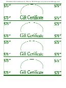 75 Dollars Blank Gift Certificate