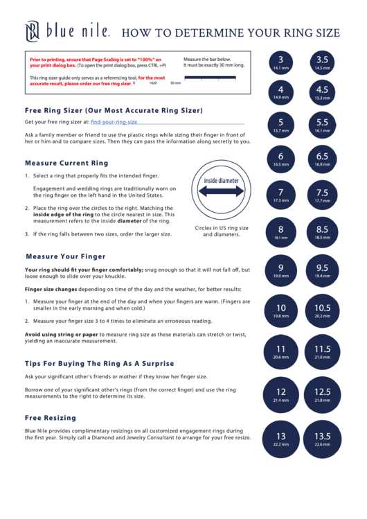 blue nile ring size chart printable pdf download