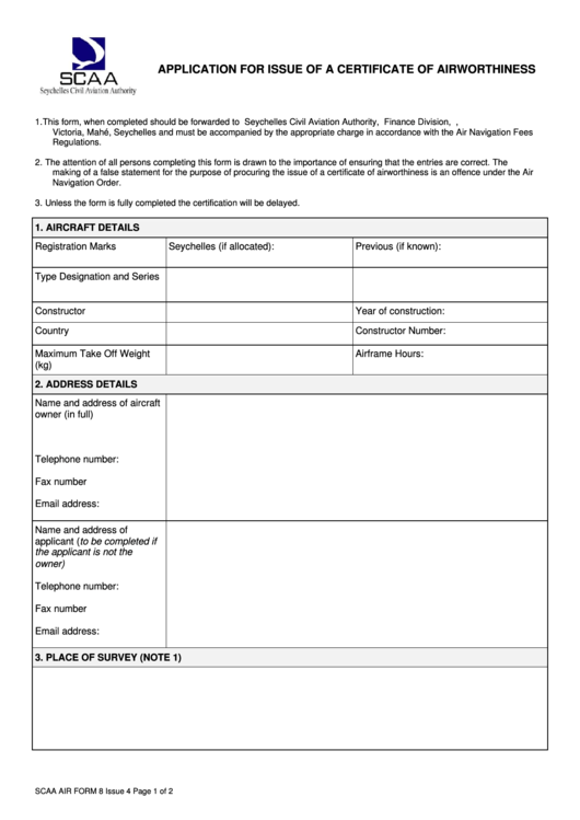 form air airworthiness certificate scaa pdf application issue printable