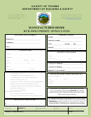 Manufactured Home Building Permit Application - County Of Tehama - Department Of Building & Safety