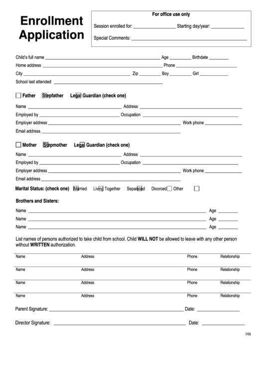 Enrollment Application  Enrollment Form Format