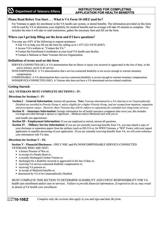 Va Form 10-10ez - Application For Health Benefits - Department Of Veteran Affairs