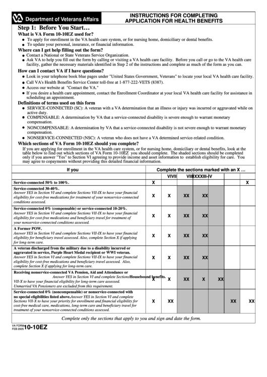 Va Form 10-10ez - Application For Health Benefits - Department Of Veterans Affairs