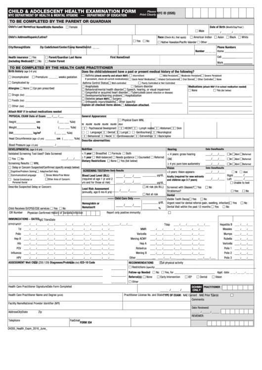 Form Ch205 - Childand Adolescent Health Examination Form ...