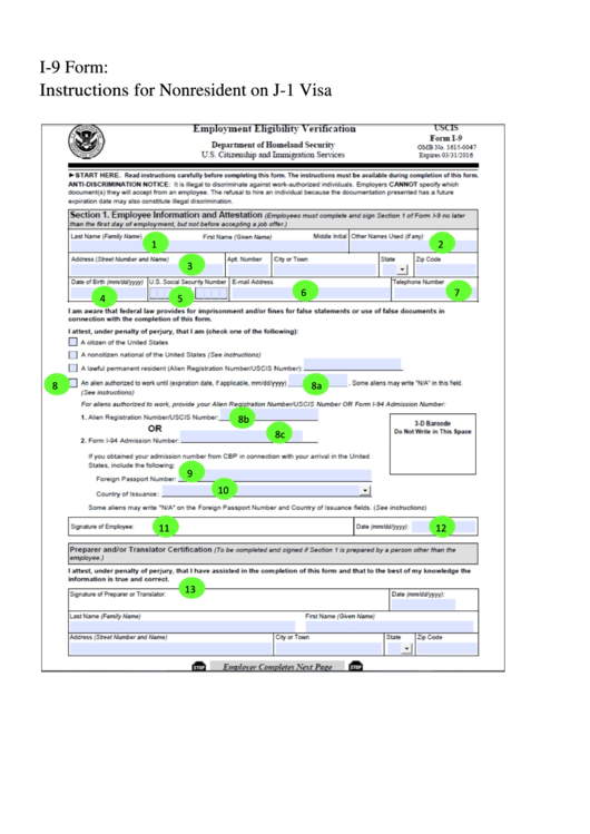 Adorable image with i-9 form printable