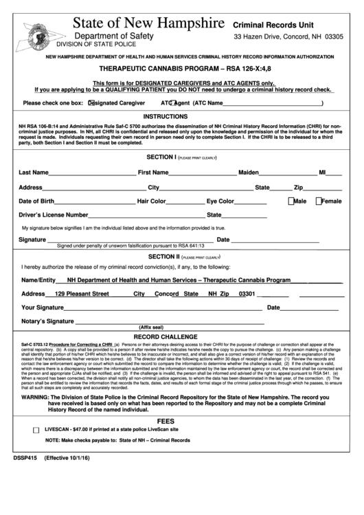Form Dssp415 - Therapeutic Cannabis Program - Rsa 126-x4,8
