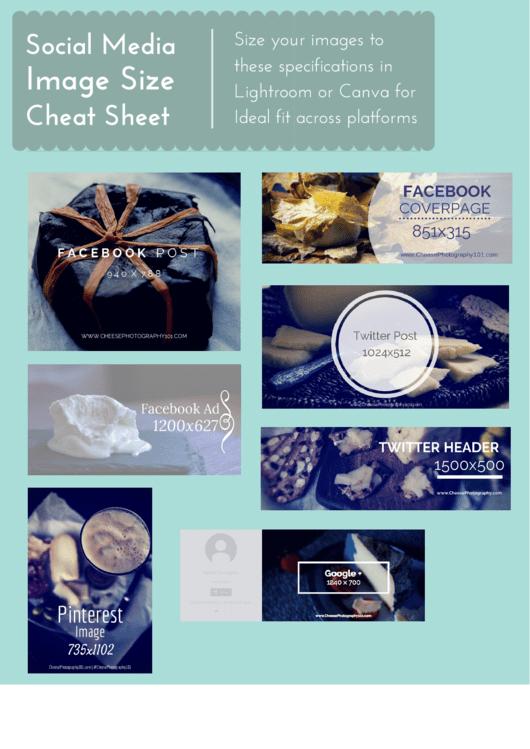 Social Media Image Size Cheat Sheet Printable pdf
