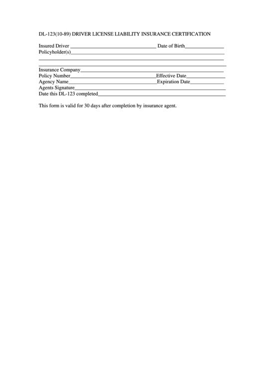 Form Dl-123 - Driver License Liability Insurance Certification Printable pdf