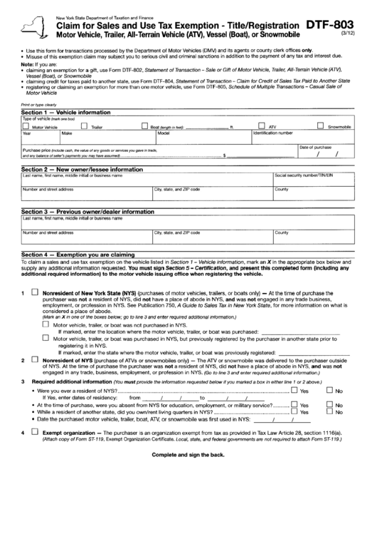 Form Dtf-803 - Claim For Sales And Use Tax Exemption - Title/registration - Motor Vehicle, Trailer, All-Terrain Vehicle (Atv), Vessel (Boat), Or Snowmobile Printable pdf