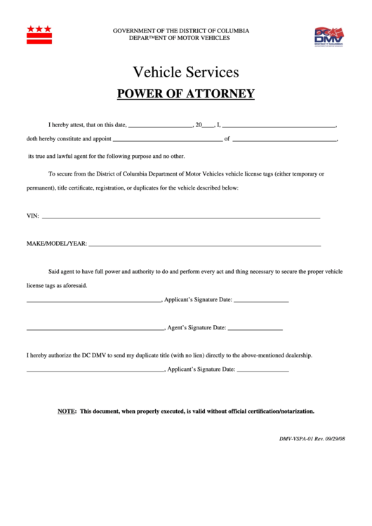 Fillable Form Dmv-Vspa-01 - Vehicle Services - Power Of Attorney Printable pdf