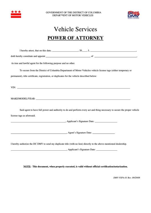 Fillable Form Dmv-Vspa-01 - Vehicle Services - Power Of Attorney Printable pdf