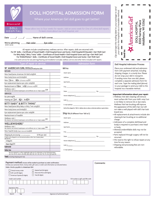 Doll Hospital Admission Form - American Girl