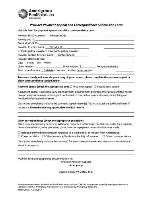 Form Txpec-2056-17 - Provider Payment Appeal And Correspondence Submission Form Printable pdf