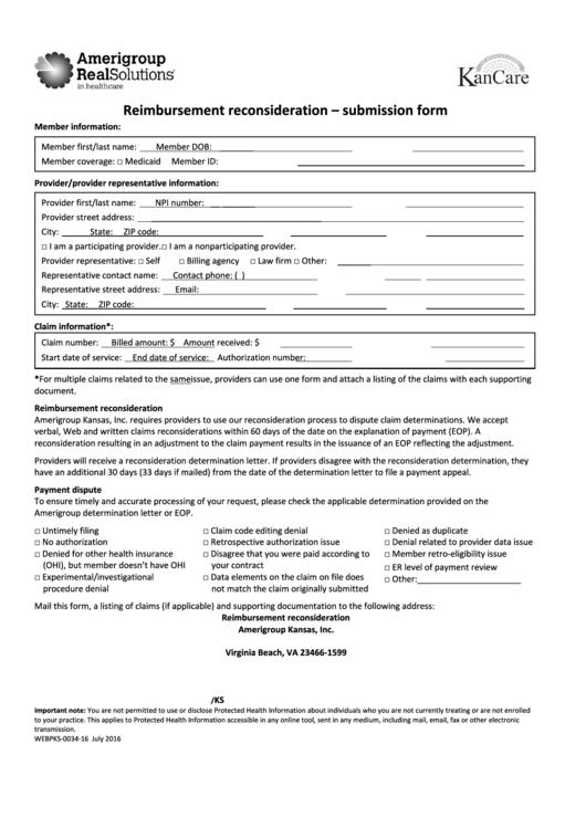 Form Webpks-0034-16 - Reimbursement Reconsideration - Submission Form Printable pdf