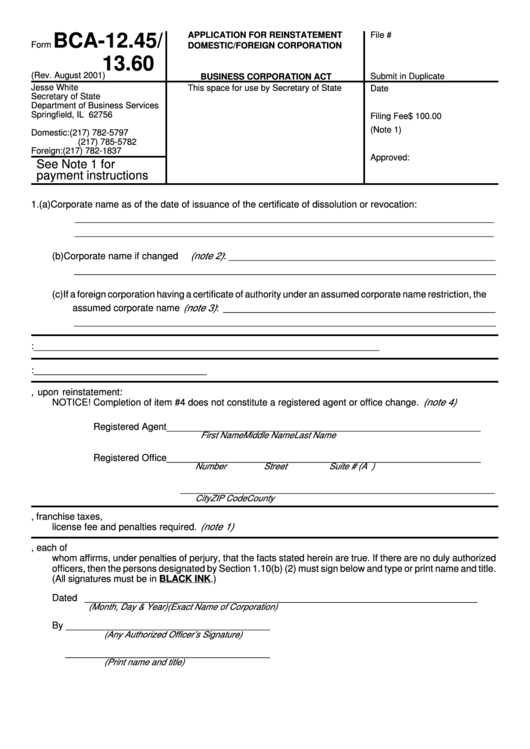 Form Bca 1245 1360 Application For Reinstatement Domestic