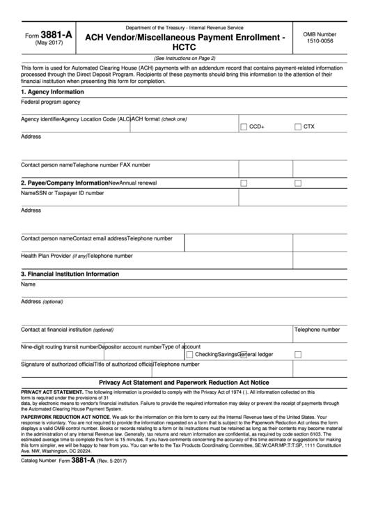 Form 3881-A - Ach Vendor/miscellaneous Payment Enrollment - Hctc - 2017 Printable pdf