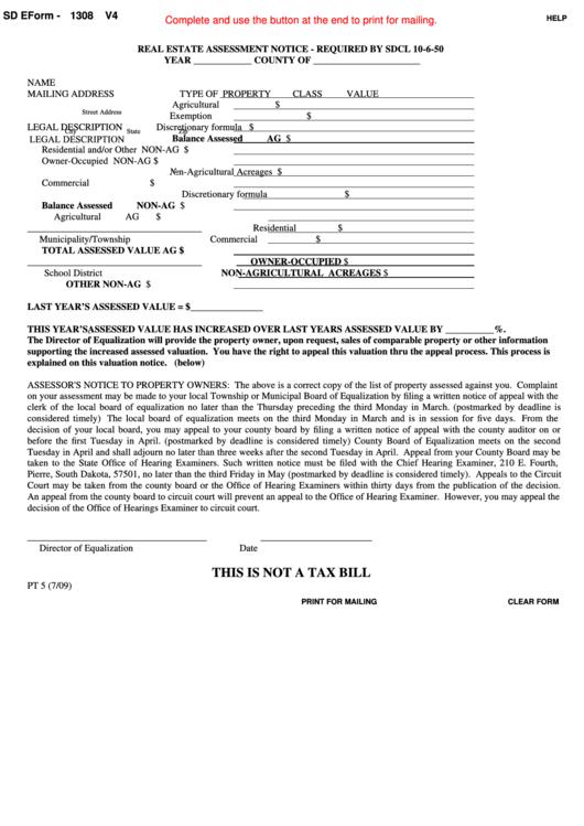 Fillable Sd Eform 1308 - Real Estate Assessment Notice - 2009 Printable pdf