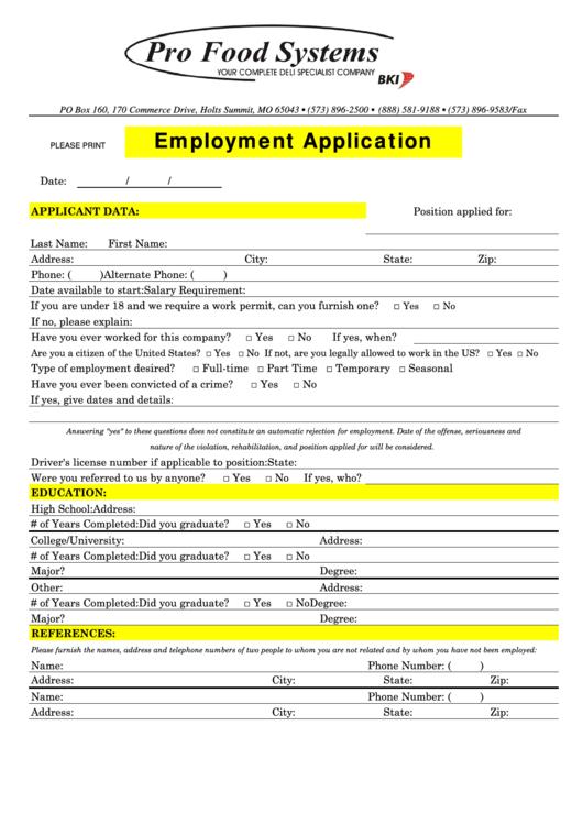Fillable Employment Application Printable pdf