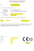 Ec Declaration Of Conformity - In Accordance With En Iso 17050-1:2004