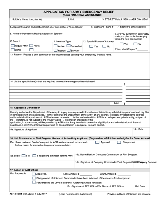 Aer Form 700 - Application For Army Emergency Relief (Aer) Financial Assistance Printable pdf