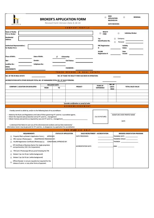 Broker's Application Form