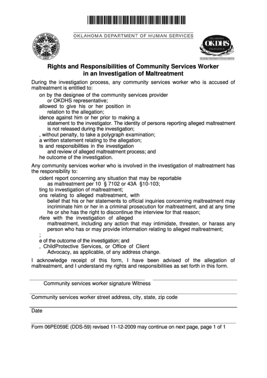Form 06pe059e (dds-59) - Rights And Responsibilities Of Community Services Worker In An Investigation Of Maltreatment