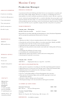 Production Manager Resume Template