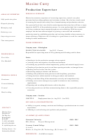 Production Supervisor Resume Template