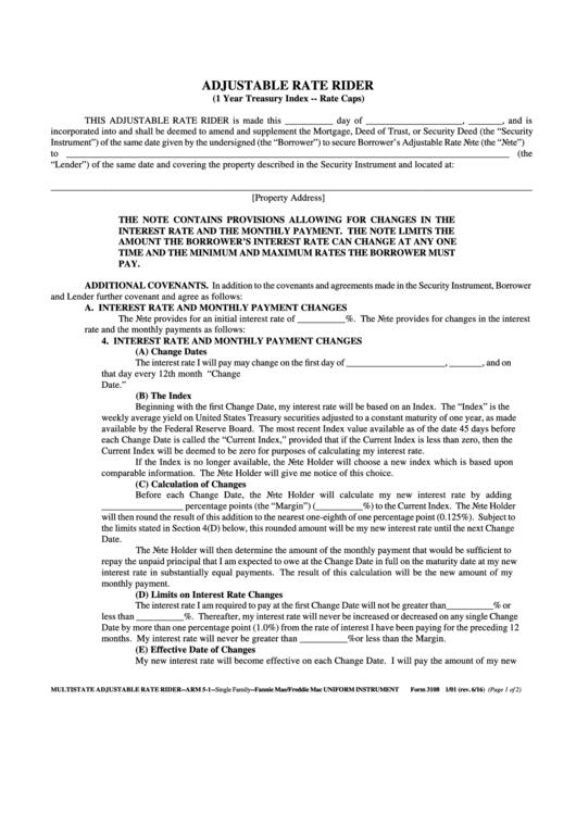 Form 3108 - Adjustable Rate Rider (1 Year Treasury Index -- Rate Caps) Printable pdf