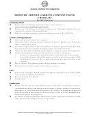 Domestic Limited Liability Company Filing Checklist, Form Ll:0004 - Articles Of Organization