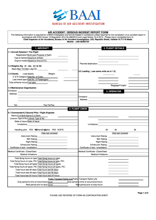 serious incident report template - air accident serious incident report form bureau of