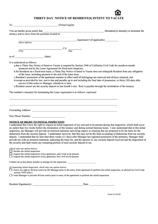 Form Ca - Thirty Day Notice Of Resident(s) Intent To Vacate