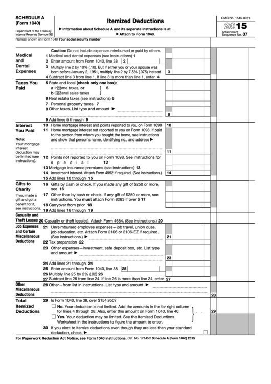 Fillable Schedule A Form 1040 Itemized Deductions 2015