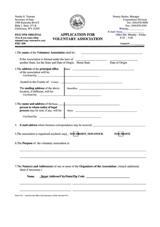 Form Va-1 - Application For Voluntary Association