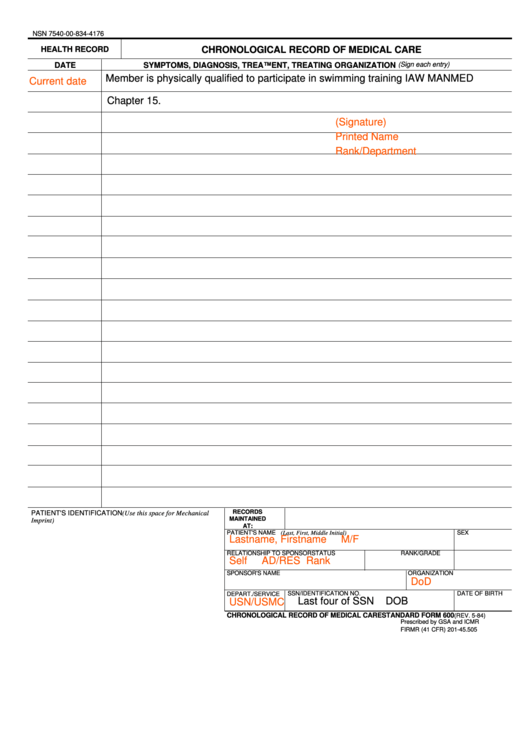 Standard Form 600 Chronological Record Of Medical Care Printable