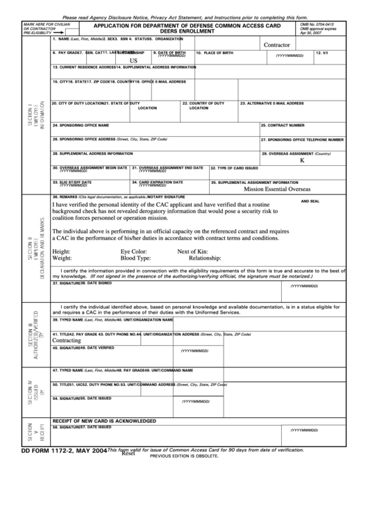 Fillable Dd Form 1172-2 - Application For Department Of Refense Common Access Card Deers Enrollment Printable pdf