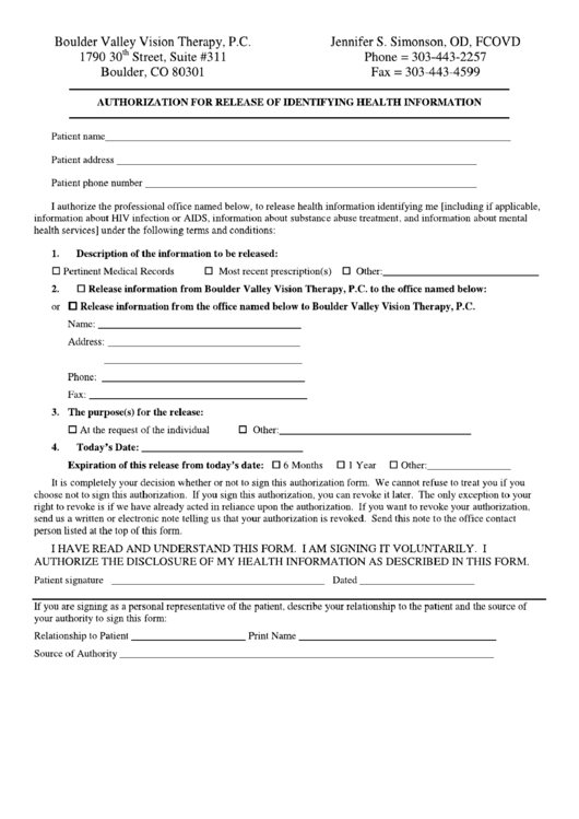Authorization For Release Of Identifying Health Information Printable pdf