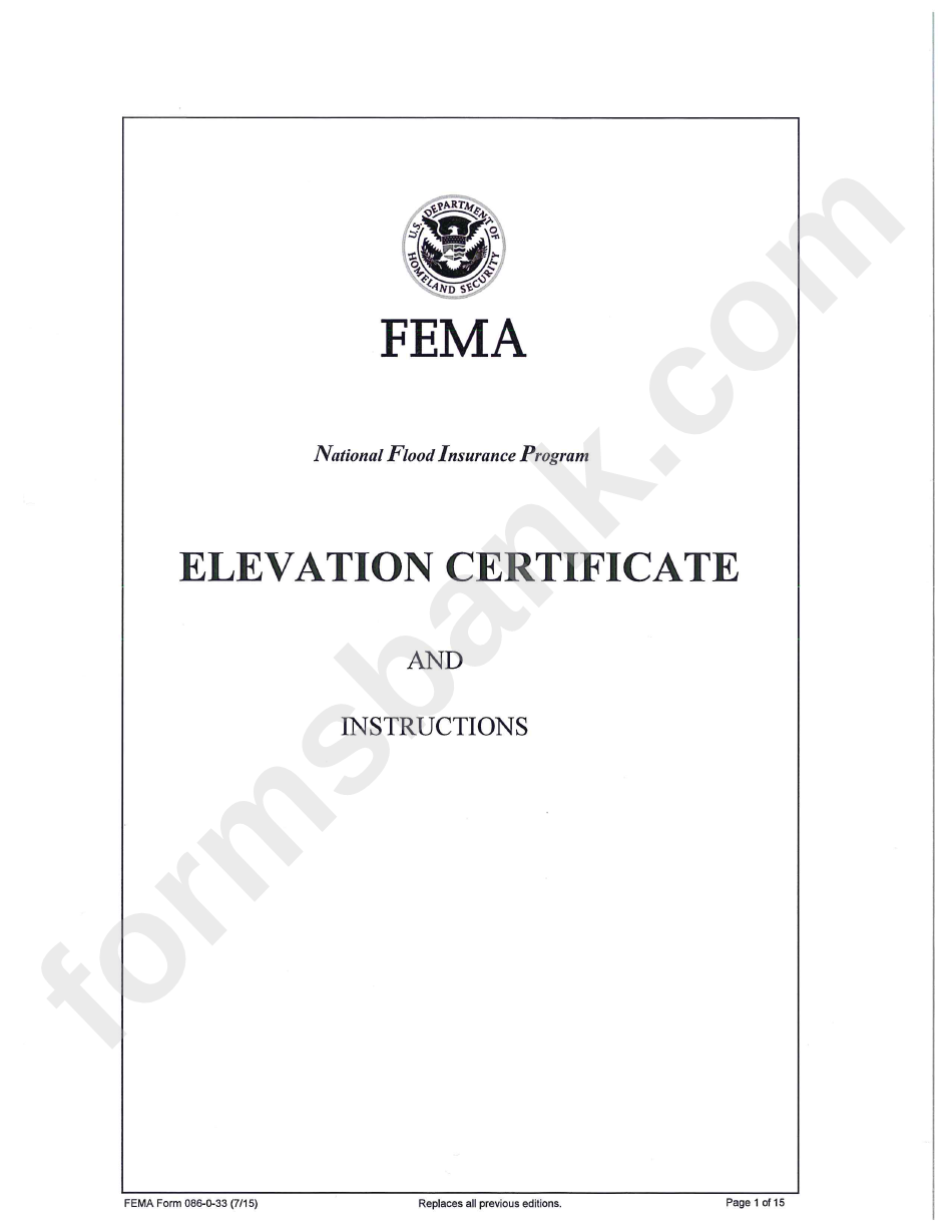 Fema Form 086 0 33 Elevation Certificate Us Department Of